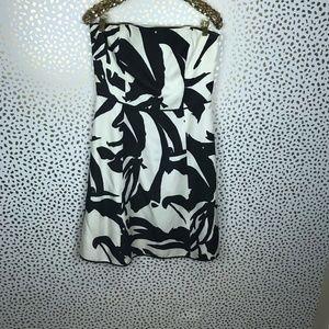 ANN TAYLOR Strapless Silk Black and White Dress